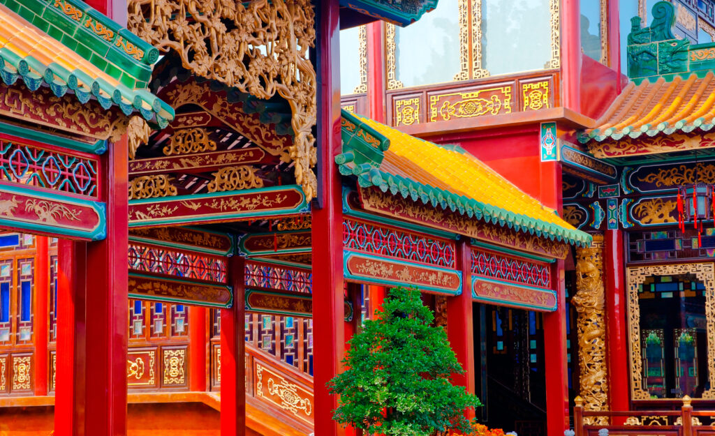 Colourful Ancient Chinese Building Exterior