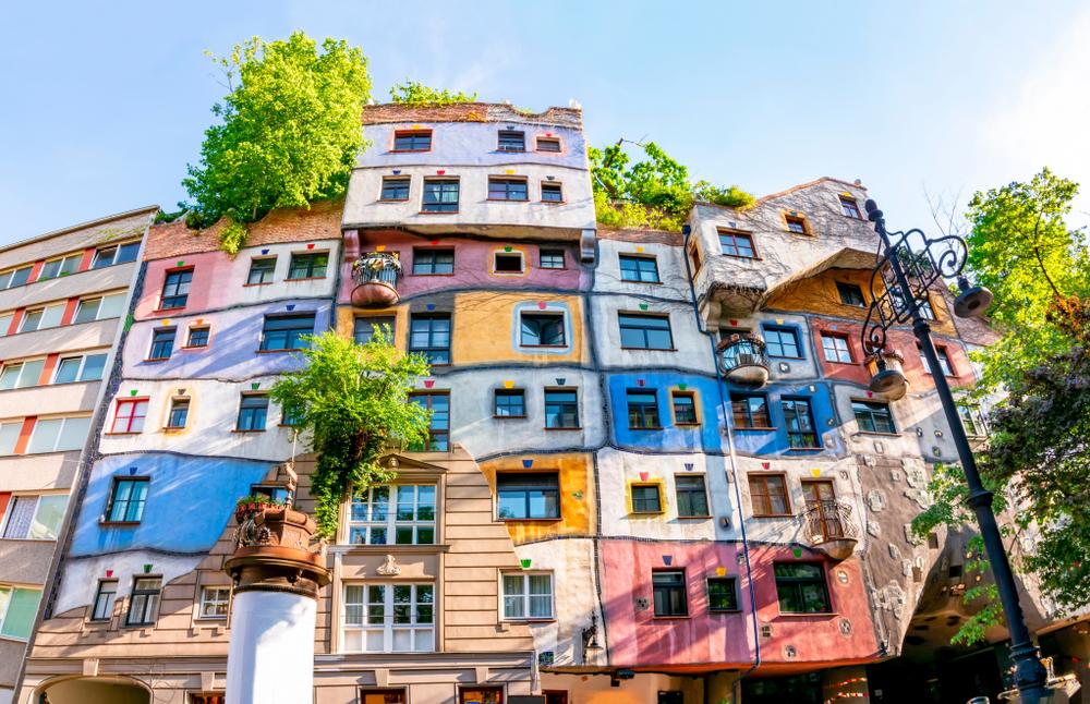 Front of Hundertwasser House Vienna Austria