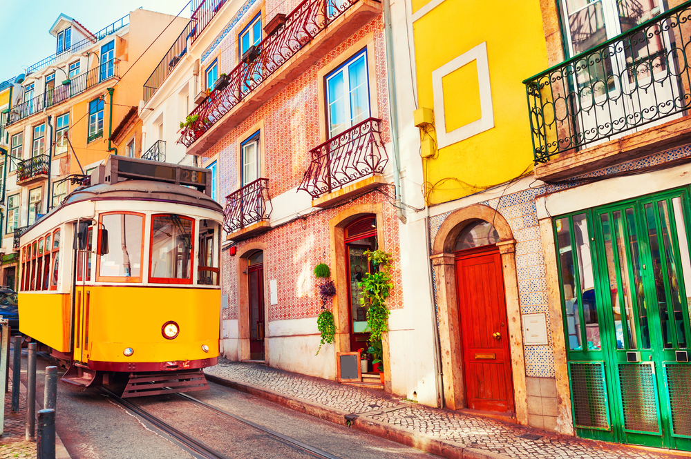 Vintage yellow tram in Lisbon Portugal