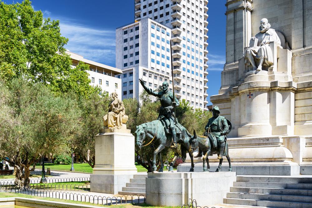 Sculpture of Miguel de Cervantes and Don Quixote and Sancho Panza on the Square of Spain Plaza de Espana Madrid