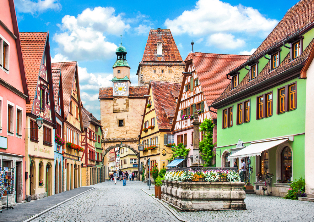Historic old town street in Bavaria Germany