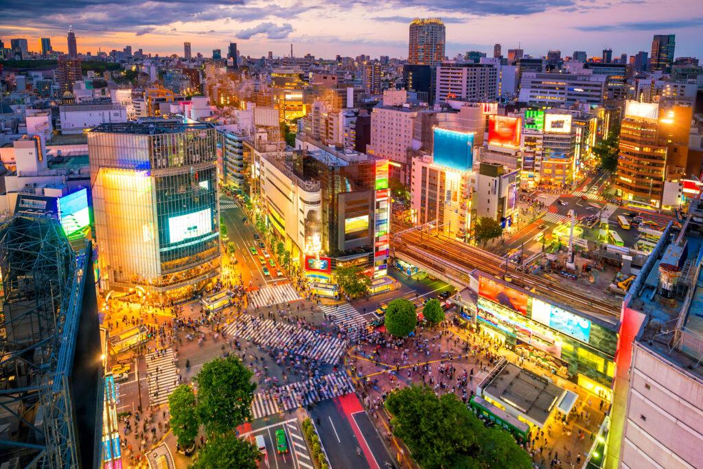 Aerial View of Shibuya Crossing Tokyo Japan