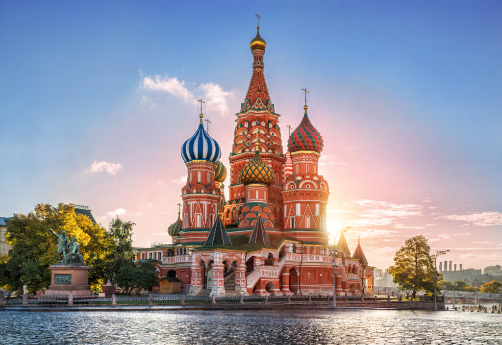Autumn morning at St. Basil's Cathedral, Moscow, Russia