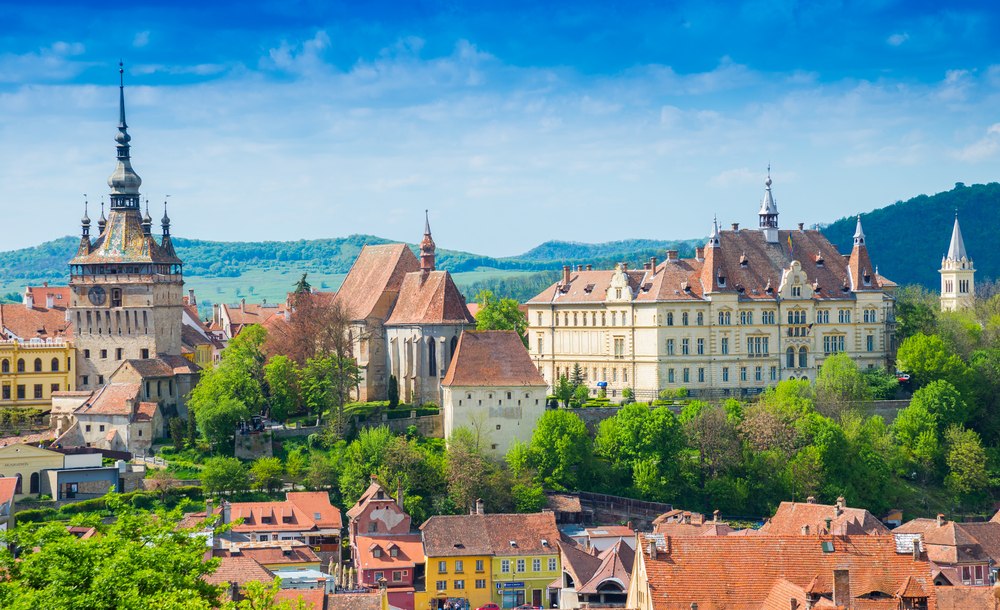 Panoramic view over the cityscape and roof architecture in Sighisoara, medieval town of Transylvania, Romania