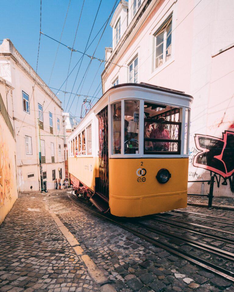 Lisbon tram scene portugal