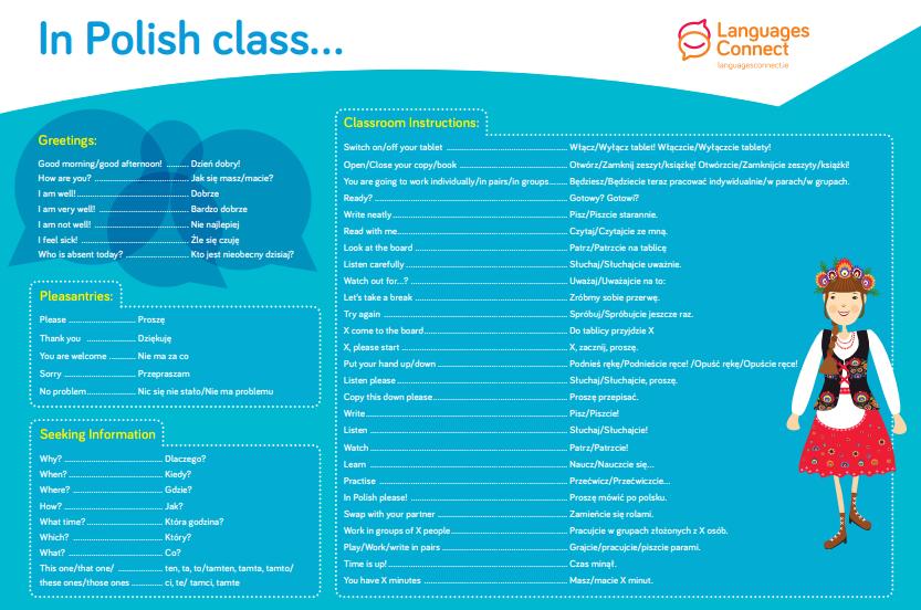 Language mat with Polish vocabulary and English translation
