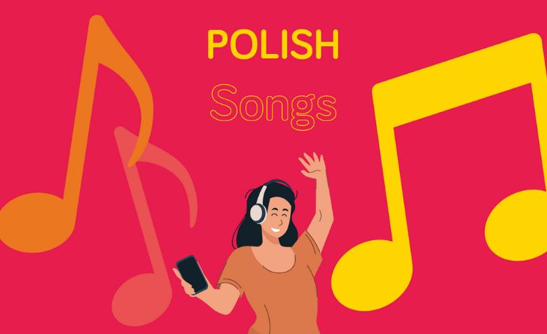 Girl with headphones enjoying polish songs