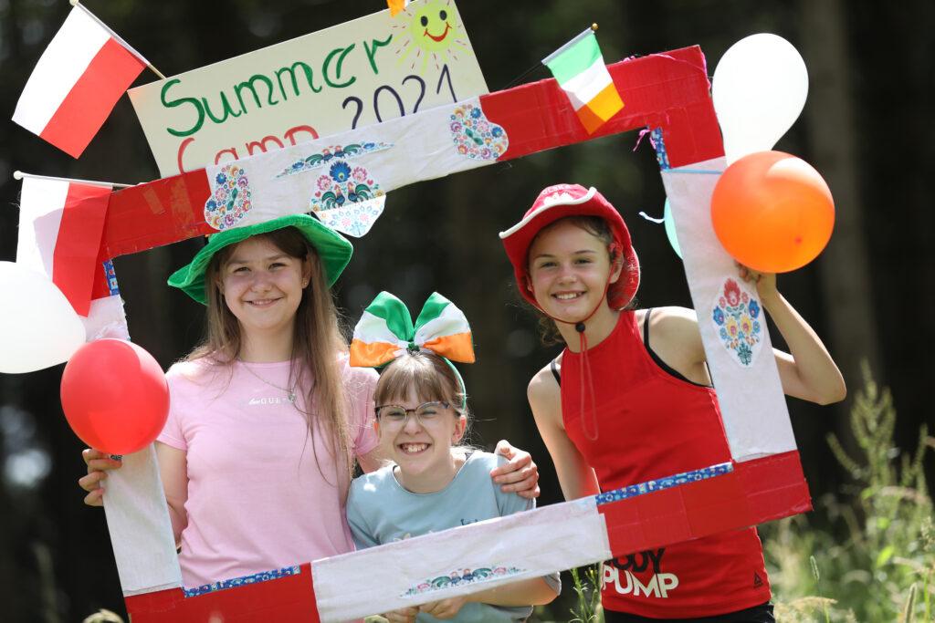 Three children enjoying Polish Summer Camp