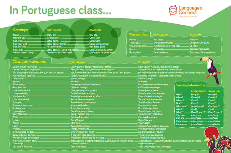 Language mat with Portuguese vocabulary and English translation