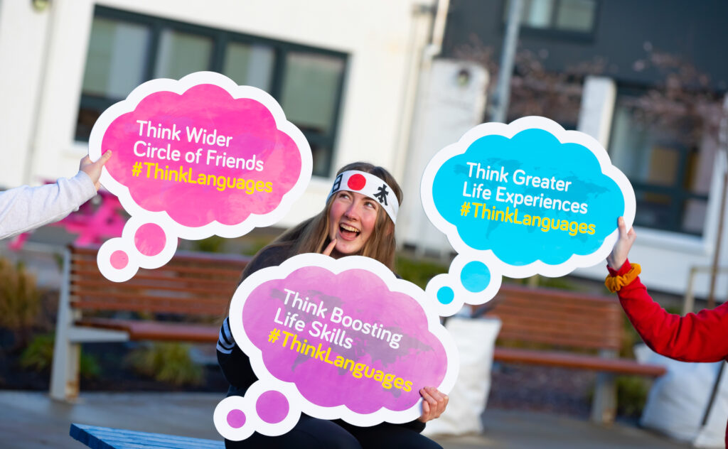 Girl with Think Languages speech bubbles