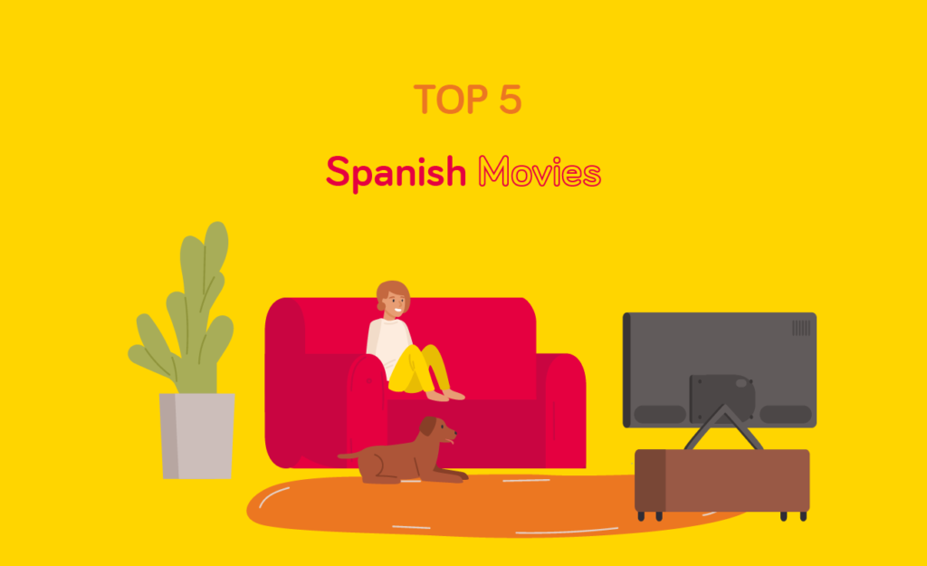 Girl sitting on couch watching spanish movies