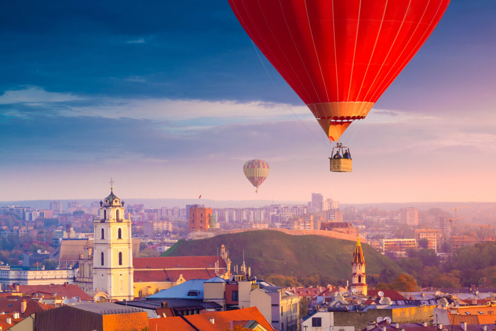 Lithuania capital Vilnius air balloons at sunset