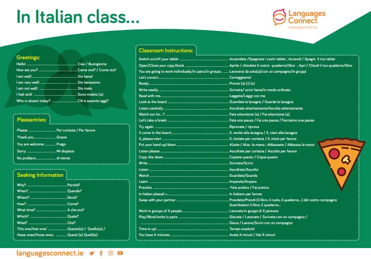 Italian language mat with vocabulary and Italian translations
