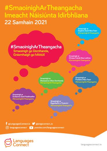 Poster explaining Think Languages TY Event themes translated into Irish