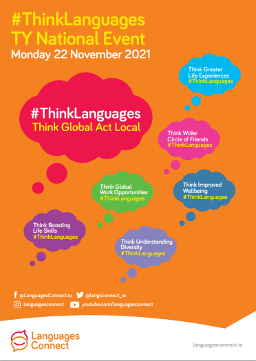 poster explaining Think Languages TY event themes